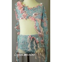 Crystal Couture | Floral Lace 2 Piece Top & Trunk - Swarovski Rhinestones - Size YM - Costumes