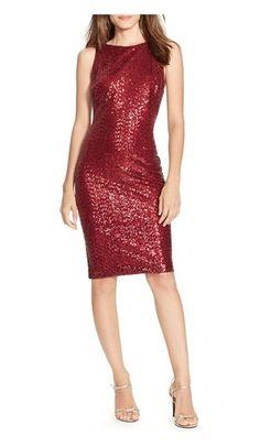 $88.99 - Ralph Lauren Women's Sleeveless Sequined Cocktail Dress, Garnet, 0 #ralphlauren