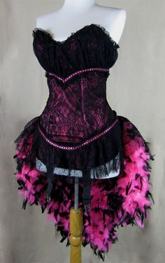 Mouin Rouge Costume Showgirl Costume Burlesque Costume Drag Queeen Costume Feather Corset Costume
