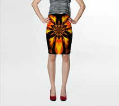 """Fitted+Skirt+""""Fire+Lotus+Orange+1+""""+by+Sherrie+Larch"""