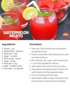 Watermelon Mojito | Tasted Recipes Mojito Ingredients, Watermelon Mojito, Soda Bottles, Non Alcoholic Drinks, Recipe Cards, Mint, Fruit, Cooking, Recipes