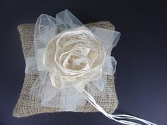Burlap, Lace and Tulle Ringbearers Pillow, Ready to Ship. $23.00, via Etsy.