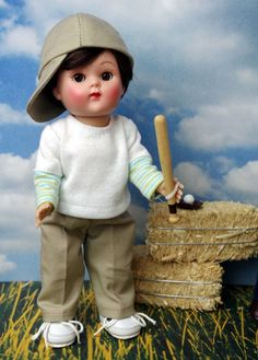 """*AuTuMN GaMeDaY* 3 PC Fun Outfit for Vogue 7.5"""" Ginny Boy Dolls, Muffie and Madame Alexander dolls too.  SHIRT HAT & JEANS in this purchase only, no doll."""
