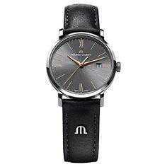Buy Maurice Lacroix EL1087-SS001-811 Men's Leather Strap Watch, Black Online at johnlewis.com
