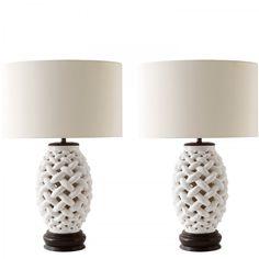 PAIR OF ITALIAN WHITE LAMPS