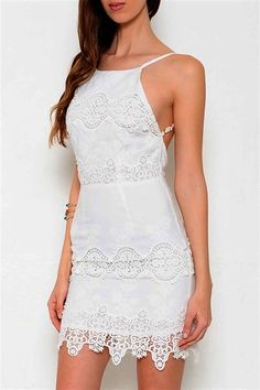 Marseille Open Back Lace Dress - White | Daily Chic