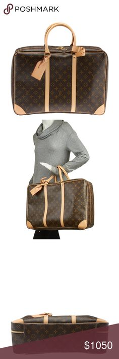 Louis Vuitton M41408 Brown Canvas Sirius 45 137964 •Designer: Louis Vuitton •Overall Condition: New with defects •Type: Suitcase •Material: Canvas •Origin: France •Color: Brown •Interior Lining: Canvas •Interior Color: Tan •Hardware: Gold-Tone •Meas (L x W x H): 18x6x11 •Strap Drop: N/A •Handle Drop: 5 •Interior Pockets: 1 •Weight: 3 lbs •Production Code: AA1105 •Overall Condition Description:   This Louis Vuitton Sirius 45 duffel features: -One of the exterior leather corners shows light…