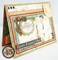 Make your dad this dapper Father's Day card! Card by Arlene Cuevas using Good ol' Sport #graphic45 #cards