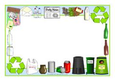 Recycling Page Borders Bulletin Board Design, Bulletin Board Borders, Page Borders, Borders And Frames, Environment Topic, Interactive Display, Display Banners, Free Teaching Resources, Writing Paper