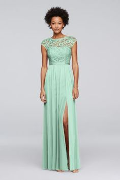 Looking for a little lace for your bridesmaids? This long bridesmaid dress features a lace bodice, an illusion neckline with cap sleeves, a ribbon-defined waist, and a fluid mesh skirt with a slit. Polyester, rayon, nylon Back zipper; fully lined Dry clean Imported Protect your dress before you wear it with our Garment Bag