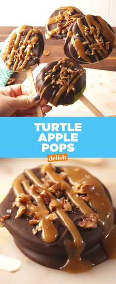 Turtle Apple Pops are so much easier to eat than caramel apples. Get the recipe at Delish.com.