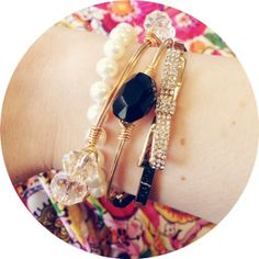 OBSESSED with these two #beau bracelets stacked with a pearl bracelet and a #Spartina bow bracelet!