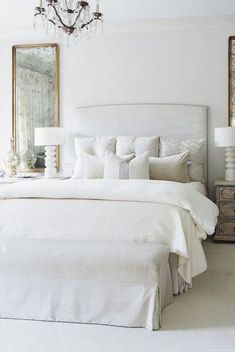 traditional master bedroom decor with all white bedding and upholstered headboard with nightstand styling and crystal chandelier, vintage mirror in glam bedroom design, elegant master bedroom design ideas in all white bedroom Decoration Bedroom, Bedroom Themes, Home Decor Bedroom, Bedroom Ideas, Glam Bedroom, Bedroom Furniture, Bedroom Curtains, Bedroom Mirrors, Furniture Market