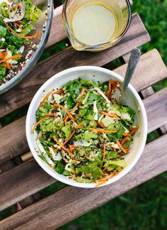 """This irresistible salad is modeled after Trader Joe's """"Mega Crunchy Salad with a Bite."""" It's light but filling, and healthy. Gluten free and vegan, too!"""