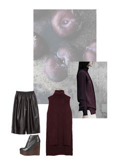 Vernez editorial collage. Fashion, style, inspiration, burgundy, plum, culottes, knitwear, #minimal, #minimalist