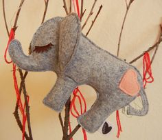 Peanut the Elephant Mini Wool Felt Applique Holiday Tree Decorative Ornament. $10.00, via Etsy.