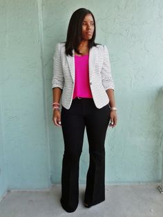 Casual office attire, curvy and chic, hot pink tank, curvy girl wearing black flare jeans