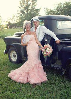Rustic wedding, country wedding, vintage wedding, pink wedding dress, old truck photo