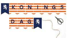 Gratis koningsdag slinger @jetjesenjobjes King Birthday, Kings Day, Direction, Diy For Kids, Box, Holland, Free Printables, Templates, Prints