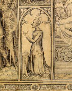 Le Parement de Narbonne Orléans Jean d' (vers 1356-1408) PÉRIODE 14e siècle TECHNIQUE/MATIÈRE lavis gris , marouflage , samit , soie (textile) DIMENSIONS Hauteur : 0.765 m Largeur : 2.855 m