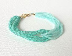 Green Bead Bracelet, Aventurine Quartz and Sterling Silver Chain