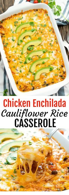 Need to try this in the instant pot Chicken Enchilada RIce Casserole. A lightened up version of enchilada rice casserole, replacing rice with cauliflower rice. This easy dish is ready in less than an hour! Lunch Recipes, Baby Food Recipes, Mexican Food Recipes, Low Carb Recipes, Appetizer Recipes, Diet Recipes, Breakfast Recipes, Vegetarian Recipes, Chicken Recipes