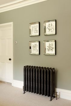 Good hallway colours Farrow and Ball - bedroom wall in Pigeon Estate Emulsion, door and trim in White Tie Estate Eggshell. Hallway Colours, Bedroom Wall Colors, Living Room Wall Colours, Colour Schemes For Living Room, Hallway Colour Schemes, Living Room Green, Living Room Decor, Bedroom Decor, Wall Decor