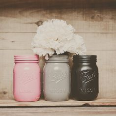 Painted mason jars. Wedding centerpiece. Pink and black. Mason jar vases. by StyleJarsandCans, $26.00