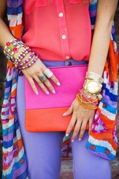 Hot pink, orange, lavender with cobalt blue & gold accents -- love it!  Fashion outfits pops of color.
