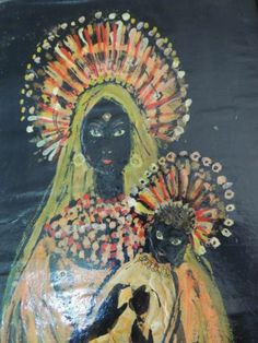RARE Black Madonna and Child Oil Painting Signed 1961 Mid Century Modern | eBay