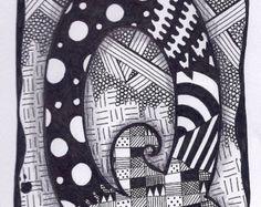 Zentangle Letter O Zebra Letters name bunting por ForeverTangles