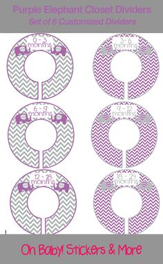 SIX Pre-Made Custom Baby Closet Dividers  by iDesignsbyKathy