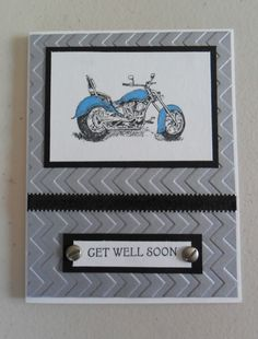 """Motorcycle Get well Card.. idea for saying on the inside of the card"""" Hope you're on the road to recovery real fast"""""""