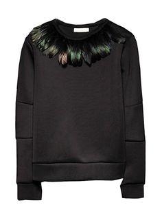 Choies Unisex Balck Sweatshirt With Feather   Choies