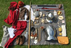 Complete Equipment of a handgunner from the free city  of Frankfurt on his way to the siege of Neuss 1475