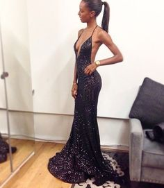 Pretty Black Prom Dresses Mermaid Prom Dress Open Backs Sequined Prom Dress…