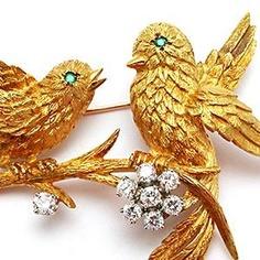 Vintage Birds on a Branch Emerald Diamond Brooch Pin Solid 18K Gold & Platinum