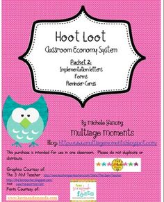 Here's a set of materials and directions for setting up an owl-themed classroom economy system.