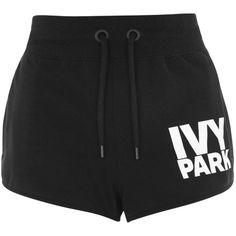 Logo Runner Shorts by Ivy Park (€9,03) ❤ liked on Polyvore featuring activewear, activewear shorts, shorts, bottoms, sport, pants, black, sports jerseys, cotton jersey and sport jerseys