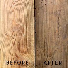DIY gray wood stain - steel wool, vinegar, and tea