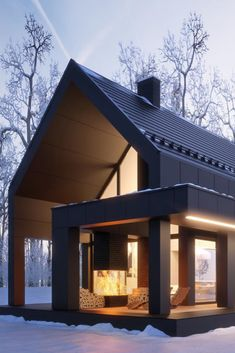 Modern barn homes become the perfect living place for homeowners looking for unusual, unique architectural results. More and more often architects are being asked to old barns into shiny modern homes. Modern Barn, Modern Farmhouse, Garage Guest House, Facade House, Modern House Design, Modern Architecture, Barn Homes, House Plans, House Styles