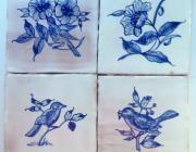 Cerámica 4 azulejos de 10x10cms pajaros  - artesanum com