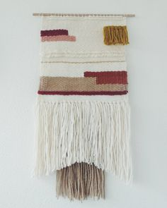 Hand woven wall hanging Woven tapestry by undertheoaktreeshop