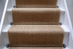 Sisal Carpet Stairs Carpet for stairs design Painted Stairs, Wood Stairs, House Stairs, Carpet Stairs, Stair Carpet Runner, Sisal Stair Runner, Stairway Carpet, Carpet Runners For Stairs, Cottage Stairs