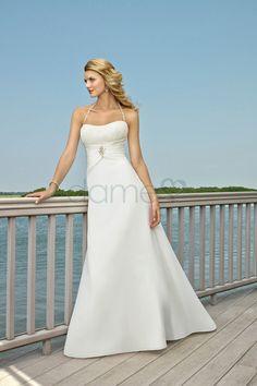 Strand Chiffon A-Linie Schnürrücken Nackenträger einfaches bodenlanges Brautkleid