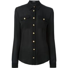Balmain classic poplin shirt (6.210 RON) ❤ liked on Polyvore featuring tops, shirts, black, button front shirt, balmain top, long sleeve tops, poplin shirt and long sleeve poplin shirt