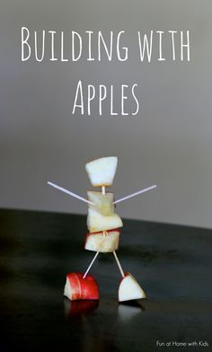 A fun way to celebrate Fall as a family - building with apples!  Come see my apple house, my husband's mini-helicopter, and my daughter's machine.  :)  From Fun at Home with Kids