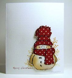 rustic colored penny black snowman card It is a clean and simple card, with a snowman on it., je peux peinturer un de mes bonhommes de neige Stamped Christmas Cards, Homemade Christmas Cards, Xmas Cards, Homemade Cards, Handmade Christmas, Holiday Cards, Penny Black Cards, Karten Diy, Snowman Cards