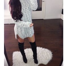 Oversized sweater with thigh high boots ♡