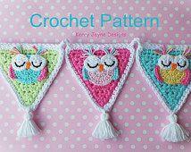 Sleepy Owl Applique Pattern by KerryJayneDesigns Crochet Bunting Pattern, Owl Crochet Patterns, Crochet Garland, Crochet Owls, Crochet Decoration, Owl Patterns, Basic Crochet Stitches, Crochet Motif, Diy Crochet